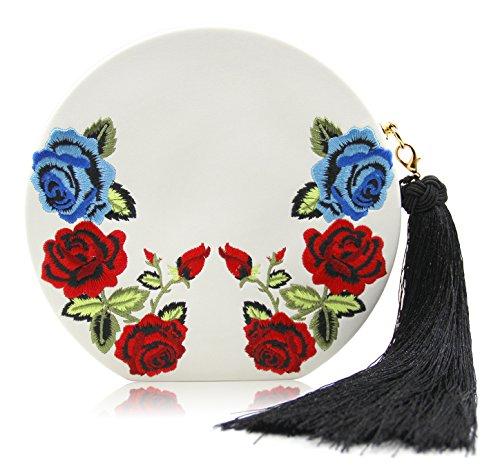 Onfashion Bolso con Flores para Mujer Bolso del Bordado Bolso de Noche Billetera para Chicas blanco