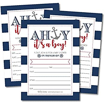 25 Ahoy Its A Boy Nautical Baby Shower Invitations Sprinkle Invite For Little Man Gender