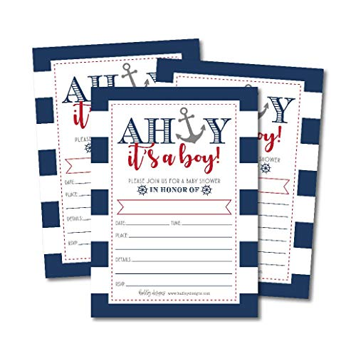 25 Ahoy It's A Boy Nautical Baby Shower Invitations, Sprinkle Invite for Little Man Gender Anchor Theme, Cute Printed Fill or Write in Blank Printable Card, Unique Vintage Coed Party Paper Supplies ()
