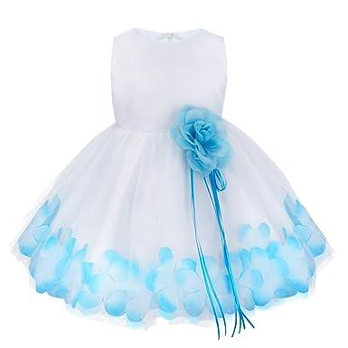 YiZYiF Baby Mädchen Kleid mit Blütenblätter Taufkleid Festlich Kleid ...