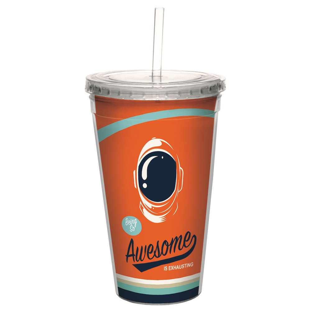 Tree-Free Greetings CC99085 Awesome Retro Double-Walled Acrylic Cool Cup with Reusable Straw, 16 Ounce