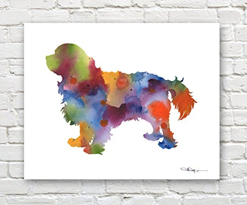 Cavalier King Charles Spaniel Abstract Watercolor Art Print by Artist DJ Ro. ()