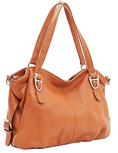 Menschwear Sac à main en cuir véritable avec sac à bandoulière Noir Jaune