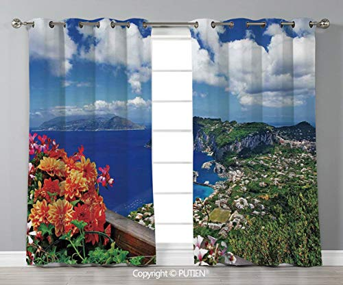 Grommet Blackout Window Curtains Drapes [ Island,Scenic Capri Island Italy Mountain Houses Flowers View from Balcony Landmark,Blue Green Orange ] for Living Room Bedroom Dorm Room Classroom Kitchen Ca