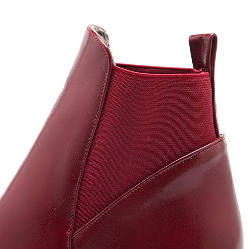 Closed Solid On Allhqfashion Kitten Claret Soft Women's Material Boots Pull Toe Heels Round qtASaXnSwx