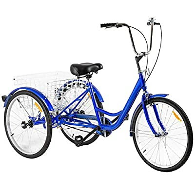 3-Wheeled Adult Tricycle with Large Size Basket Basket 24