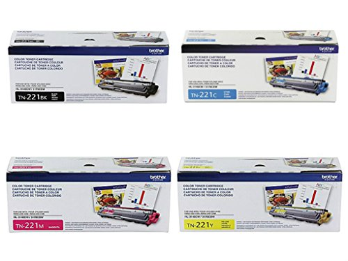 Brother TN221BK, TN221C, TN221M, TN221Y (TN-221BK, TN-221C, TN-221M, TN-221Y) 4-Color Complete Toner Cartridge Set