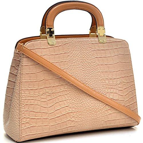 Dasein Faux Croco Leather Hinge Handle Laptop, Tablet, iPad Bag Satchel Briefcase Shoulder Handbag Purse with Removable Shoulder Strap - Beige