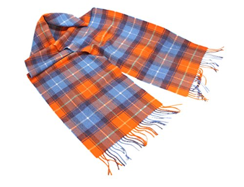 Wool Scarf 100% Merino Lambswool Orange & Blue Plaid Irish Made Brushed Wool Scarf