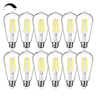 12Packs Vintage LED Edison Bulbs, 60W Equivalent 7W, 800Lumens, Dimmable ST64 Antique LED Filament, Daylight White 5000K, E26 Medium Base Light Bulbs High Brightness Clear Glass for Bedroom Office