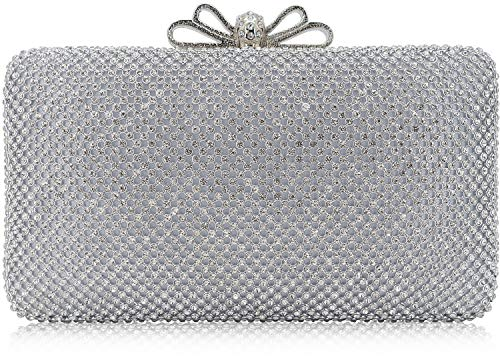 (Dexmay Bling Rhinestone Crystal Clutch Purse Bow Clasp Women Evening Bag for Bridesmaid Wedding Party Silver )