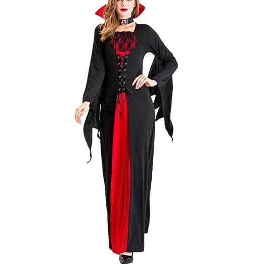 HZH Vestido de Reina de Halloween, Disfraz de Bruja Vampiro para ...