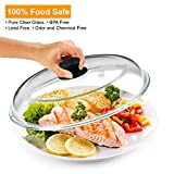 Bezrat Microwave Glass Plate Cover   Splatter Guard Lid with Easy Grip Silicone Handle Knob   100% Food Grade   BPA Free and Dishwasher Safe   11.5 Inch