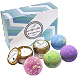 LA BELLEFÉE Bath Bombs Gift Set Perfect for Bubble & Spa Bath to Moisturize Dry Skin. Christmas Birthday Gift Ideas for Women Best Friends, Girlfriend, Including 2 Pack Candles (4 x 4.1 oz Bath Bombs)