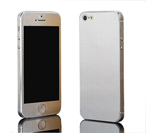 DiaMini Metal Decal Full Body Protective Skin Sticker for iPhone 4 or 4S in Package (Twill  Silver)
