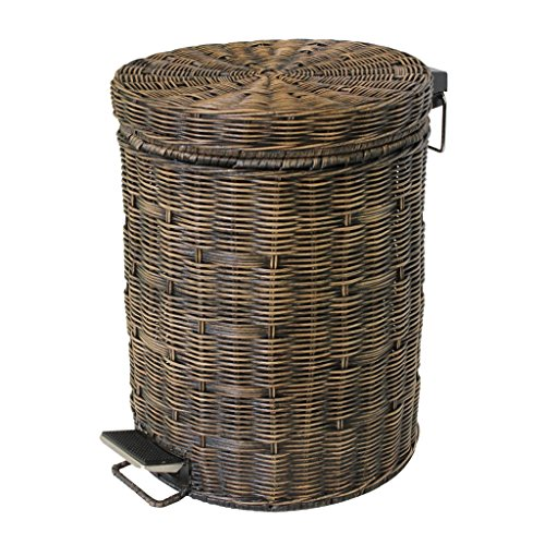 Trash Bin Large-Capacity Kitchen Trash Cans, Woven Pedal-Style Retro Wastebasket, Hotel Bedroom Recycling Barrels Garbage Storage (Size : 30l) 30l Retro Pedal Bin