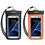 Universal Waterproof Case, MoKo [2-Pack] Cellphone Dry Bag with Armband Neck Strap for iPhone 7, 7 Plus, 6s, 6, 5s, Note5, S7 Edge, Pixel, Pixel XL, BLU Huawei & Other Devices up to 6