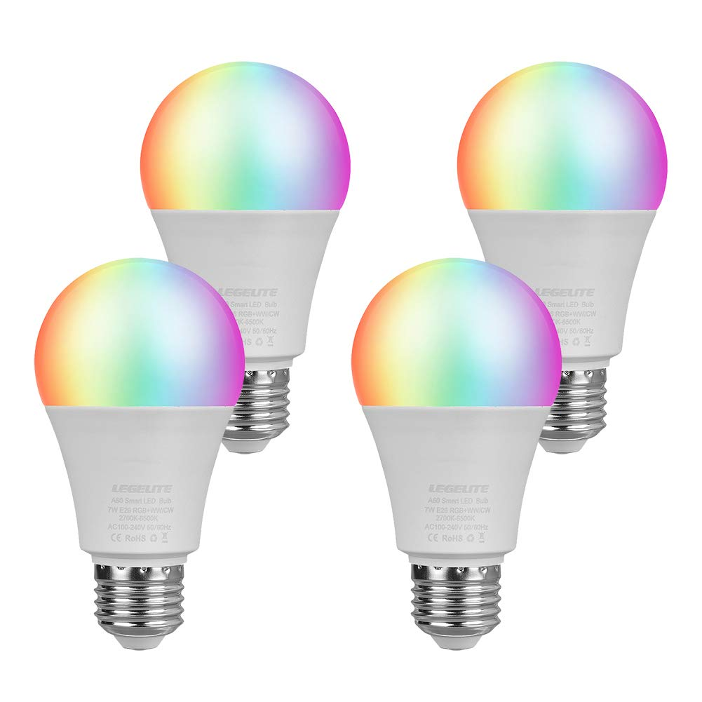 LEGELITE LED Smart Light Bulb, E26 7W WiFi Light Bulbs 2700K to 6500K Dimmable and RGBCW Color Changing, No Hub Required, Works with Amazon Echo Alexa Google Home and IFTTT, 60W Equivalent (4 Pack)