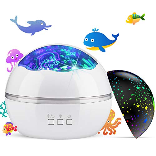 Night Light Projector,Delicacy 2 in 1 Ocean Undersea Lamp and Starry Sky Projector, 360 Rotating 8 Colors Mode LED Night Lights Projector for Kids Baby Bedroom Decoration