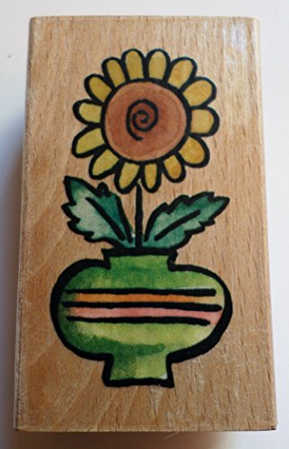 - Whispers Whimsical Daisy In A Flower Vase Pot Wooden Rubber Stamp