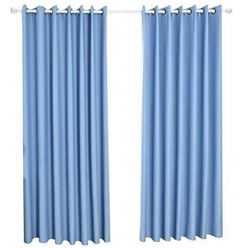Norbi Thermal Insulated Curtains Blackout Panels Room Darkening Light Blue Draperies for Living Room, Bedroom, Nursery (Perforated,39.4″x98.4″) For Sale