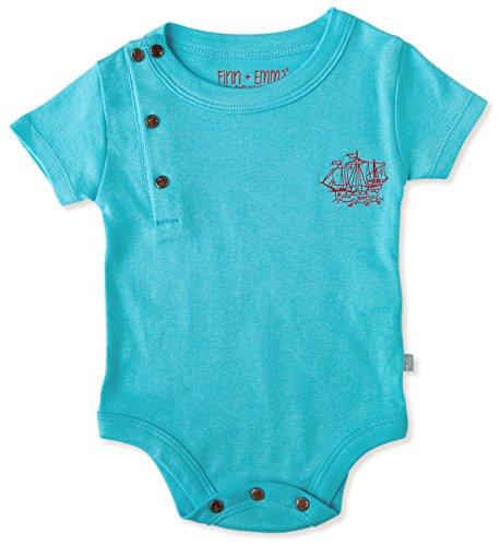 Finn + Emma Organic Cotton Short Sleeve Bodysuit Onesie for Baby Boy or Girl – B.B. Blue, 0-3 Months by Finn + Emma