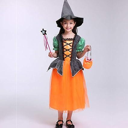 e8fac8f498 WZANA Costume di Halloween per Bambini, Costume Cosplay, Gonna Principessa  della Zucca della Strega del Vestito A Maniche Corte della Principessa  Femminile ...