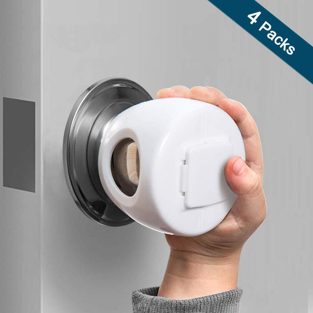Door Knob Safety Cover for Kids, OUYUI 4PCS Door Knob Covers Baby Proofing Doorknob Handle Cover (4 Pack)