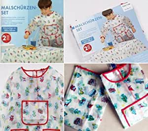 """Painting Set Artist Waterproof Apron Coat with Long Sleeves and Waterproof Tablecloth Size 110 Coat Lenght: 21.5"""" Suitable for 3-6 years old"""