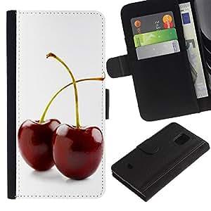 All Phone Most Case / Oferta Especial Cáscara Funda de cuero Monedero Cubierta de proteccion Caso / Wallet Case for Samsung Galaxy S5 Mini, SM-G800 // Two cherries