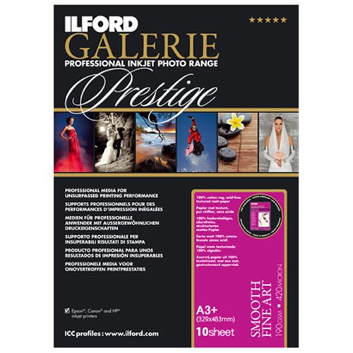 ILFORD 2001799 GALERIE Prestige Smooth Fine Art - 13 x 19 Inches, 10 Sheets
