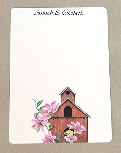 Goldfinch Birdhouse (Goldfinch, Birdhouse & Pink Clematis Women's Personalized Flat Note Card Set With Envelopes, Complete Custom Monogrammed Stationery, Girl's Monogram Stationary, Thank You Cards)