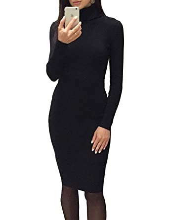 b82634b35e GLOSTORY Women Long Sleeve Ribbed Knitted Turtleneck Fall Winter Knee  Length Bodycon Sweater Dress WMY-