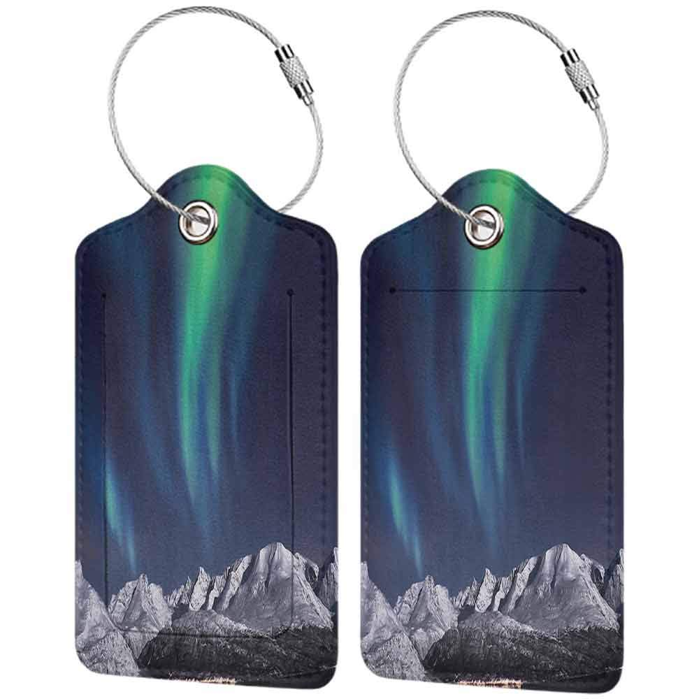 Durable luggage tag Sky Decor Northern Lights Aurora over Fjords Mountain at Night Norway Solar Image Unisex Green Dark Blue W2.7 x L4.6
