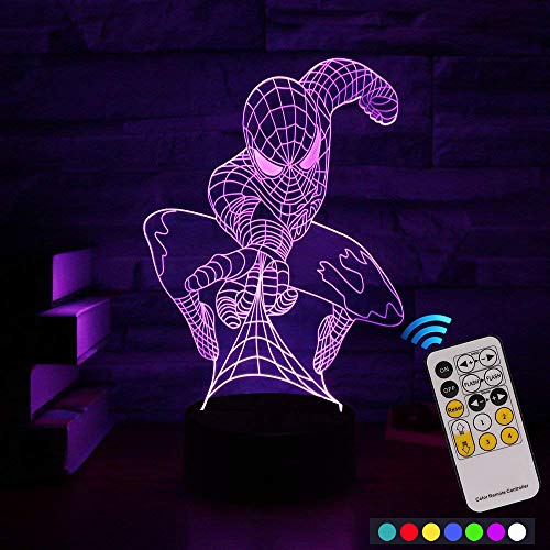 Carryfly Spiderman Night Light Kids Night Light Optical Illusion 7 Colors Change with Remote Birthday Gifts for Baby Amazing Light (Spiderman) by Carryfly