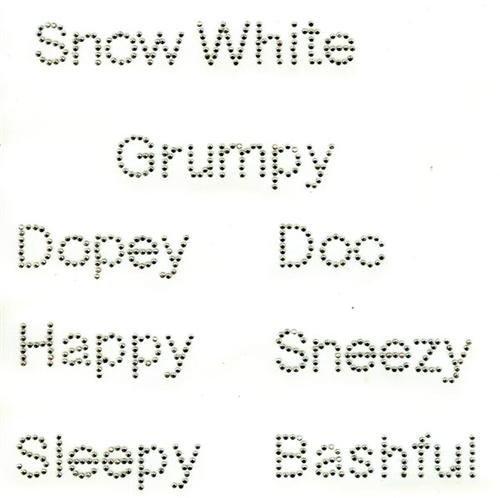 Snow White 7 Dwarfs Iron On Hot Fix Clear Rhinestones Party Favors (Clear - Dwarf White Sugar