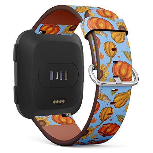 Compatible with Fitbit Versa - Leather Watch Wrist Band Strap Bracelet with Quick-Release Pins (Autumn Harvest)