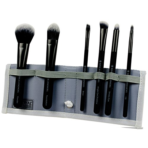 Royal Brush Moda Total Face Cosmetic Brush Set and Case, Bla