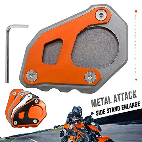 motorcycle kickstand side stand enlarger extension enlarger pate pad For KTM 1090 Adventure 2017 2018 1190 Adventure 2015 2016 1050 Adventure 1290 Super Adventure 2015-2018 (Grey - Orange)