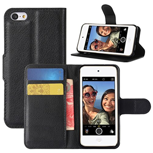 Fettion iPod Touch 7th 6th 5th Generation Case, Premium PU Leather Shockproof Wallet Case Book Flip Phone Case Cover with Credit Card Holder for Apple iPod Touch 7 (2019), iPod Touch 5/6 - Black ()
