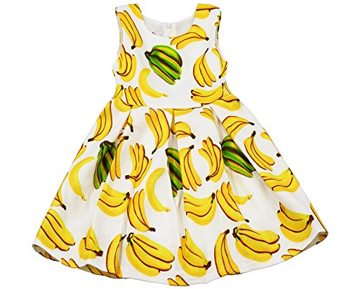 Kidscool Little Girls Sleeveless Allover Banana Print Princess Dress]()