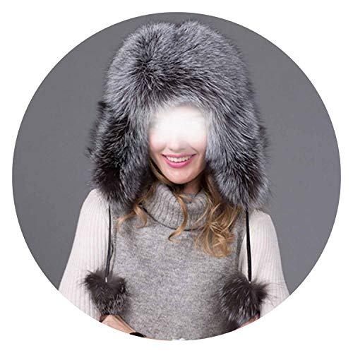 (Bomber Real hat Winter hat Proof Cloth on Leather hat fe Ear Protector Cap HJL-05,B,)