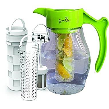 SPECIAL - Fruit & Tea Infusion Pitcher - FREE Beverage Infused Recipe Ebook - Water & tea infuser jug includes 3 infusers for fruit, tea and ice to enhance the flavor of water - Perfect for detox