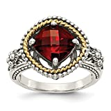 ICE CARATS 925 Sterling Silver 14k Red Garnet Band Ring Size 6.00 Stone Gemstone Fine Jewelry Gift Set For Women Heart