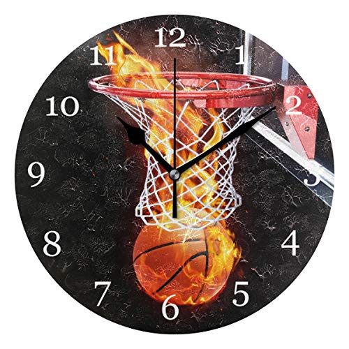 - KUWT Sport Ball Flaming Basketball Wall Clock Silent Non-Ticking 9.5 Inch Round Clock Acrylic Art Painting Home Office School Decor