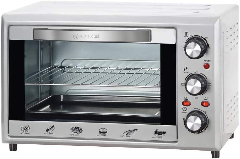 Grunkel - Horno de sobremesa eléctrico con 28 litros de capacidad. Resistencia en M. Perfecto para hornear pan y pizzas (Plateado)