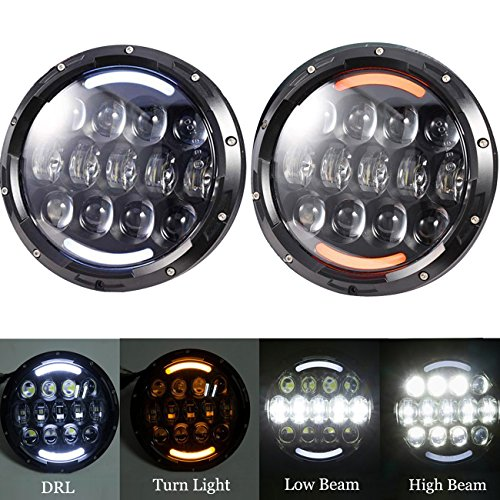 Ohmotor 2 PCS 105W Jeep Wrangler LED Headlight 7 Inch Round LED Headlamp Bulb with Hi/Lo Muti-Beam DRL & Amber Turn Signal Lights for Jeep Wrangler JK TJ CJ Cruiser Hummer H1 H2 Harley Davidson Black