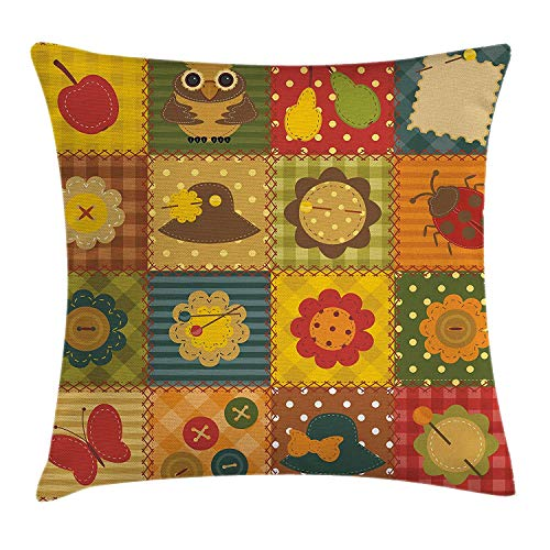 (Cabin Decor Throw Pillow Cushion Cover, Cute Nature Themed Figures Owl Ladybug Flower Hat Butterfly Patchwork Image, Decorative Square Accent Pillow Case, 18 X 18 inches,)