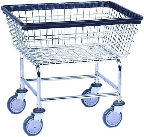 Everstrong Heavy Duty Wire Basket Metal Laundry Cart, Silver, Standard