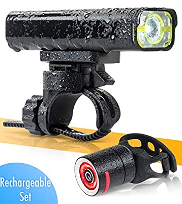BrightRoad - The Original LED Bicycle Rechargeable Light Set | 800 Lumens for a Brighter Bike Light | Wide & Long Cover Range - 85° & 650ft | IPX6 Waterproof | Plus Upgraded Tail Light | Bike Lights